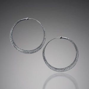 Earrings - Rustic Sterling Silver Hoop Earrings