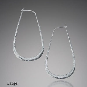 Earrings - Sterling Silver Elliptical Hoop Earrings