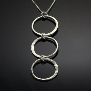 Cascading circles pendant in sterling silver