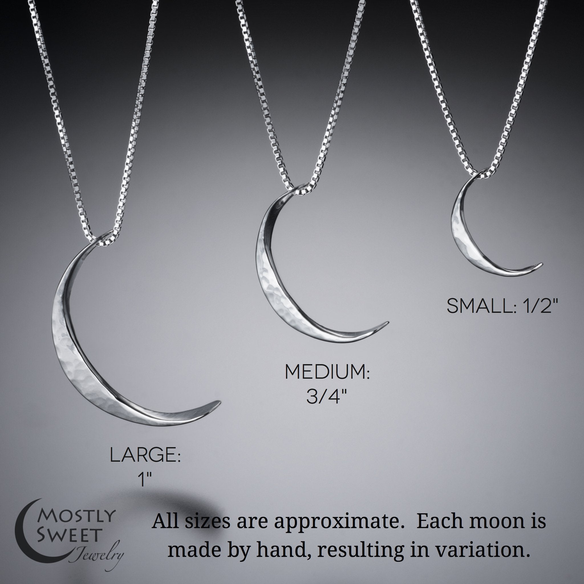 14k gold crescent moon pendant size comparison