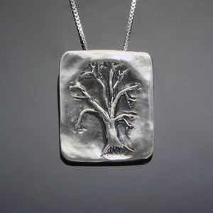 Sterling silver oak tree pendant