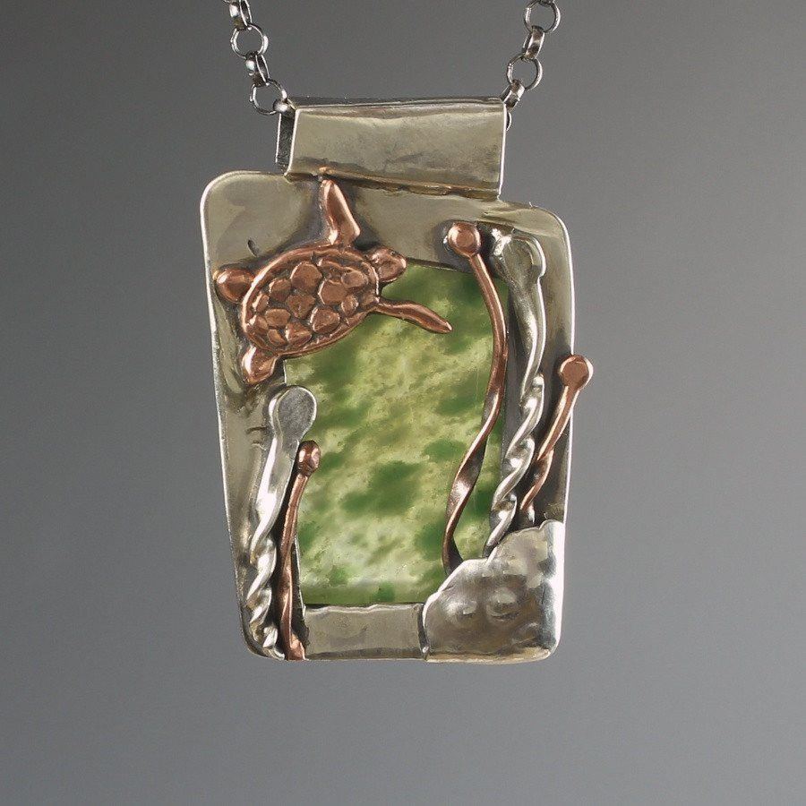One of a kind sea turtle on vesuvianite setting