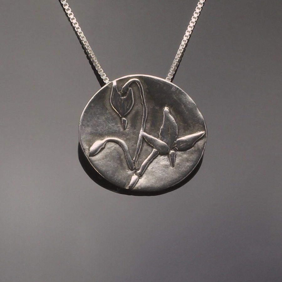 Shooting star wildflower pendant in sterling silver