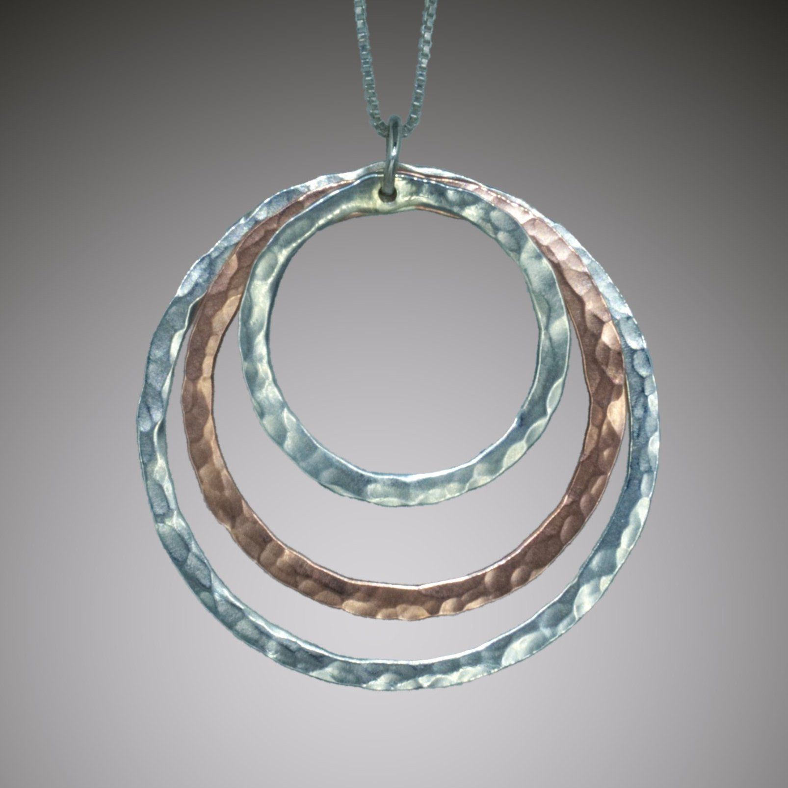 Tangent Circles pendant in sterling silver and copper