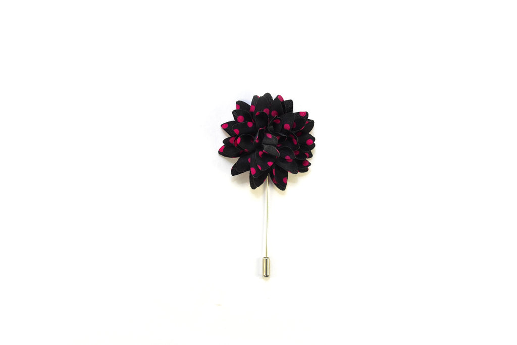 Spotted |Black/Fuscia| Lapel Pin