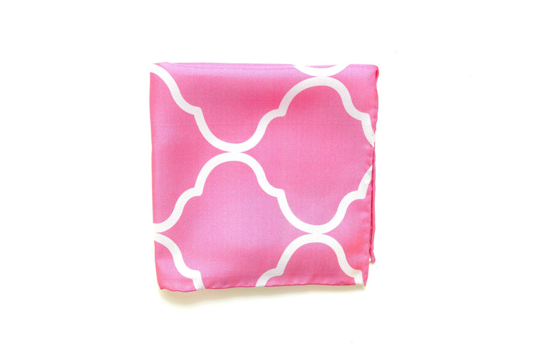 Pink & White Silk Pocket Square