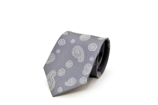Grey and white paisley Silk Necktie from Ocean Boulevard