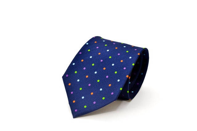 Blue Silk Necktie with polka dots from Ocean Boulevard