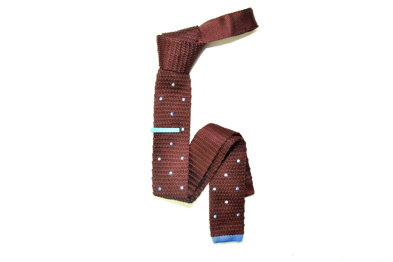 Brown Polka dot Knit Tie