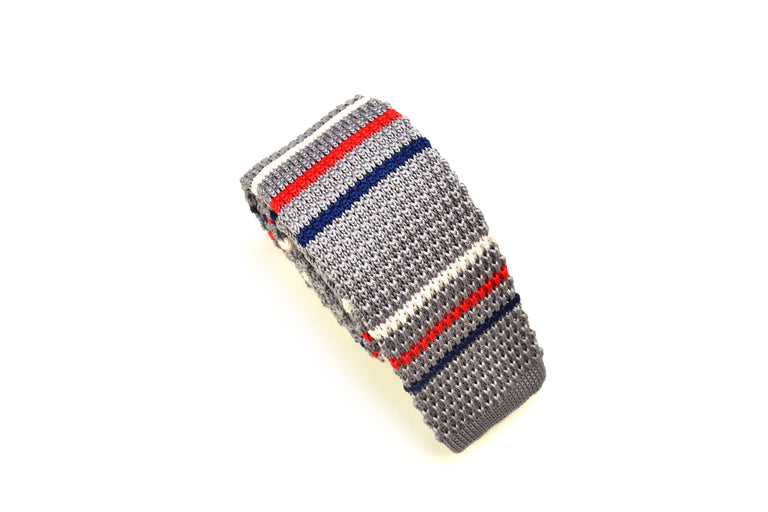 red white and blue striped Knit Tie