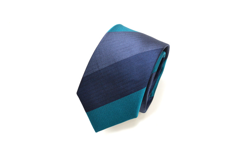 Teal striped silk tie from Ocean Boulevard
