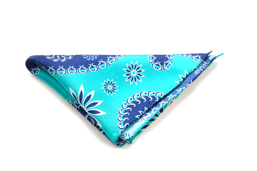 Ocean Boulevard Teal Silk Pocket Square