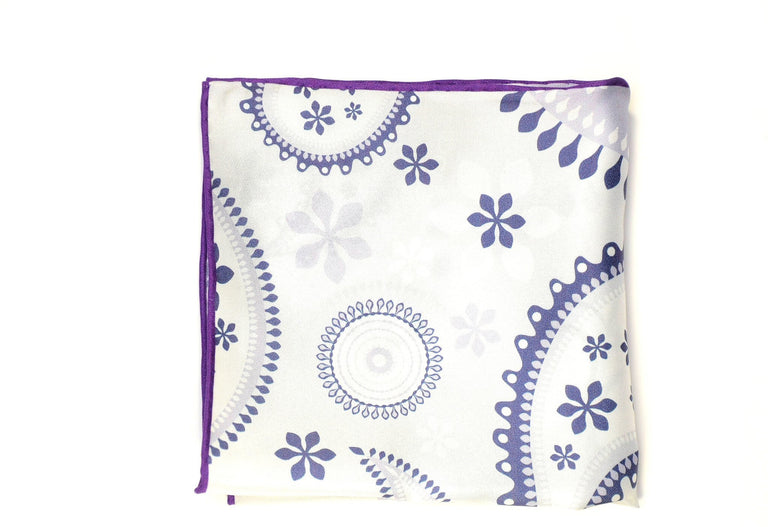 Ocean Boulevard Purple Paisley Silk Pocket Square