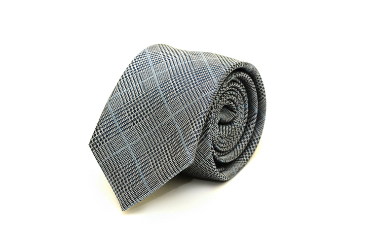 Grey and blue plaid silk tie from Ocean Boulevard
