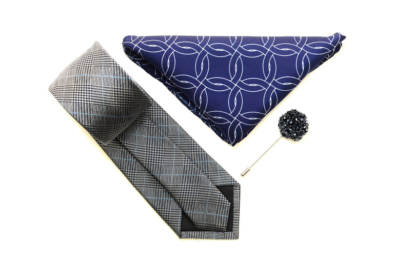 Grey Plaid tie set with pocket square and lapel pin from Ocean Boulevard