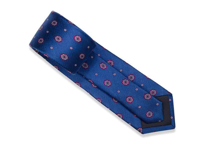 Blue Medallion Tie Set with Pocket Square and flower lapel pin from Ocean Boulevard