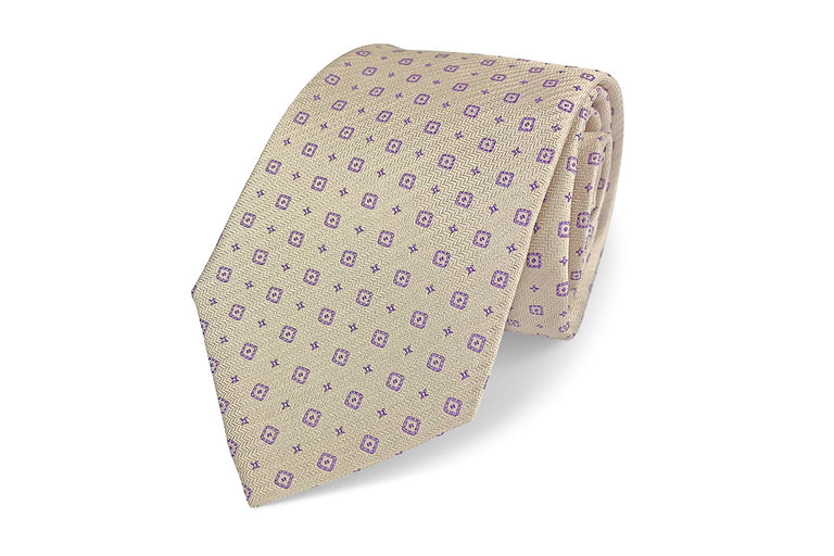 Taupe and purple pattern silk tie from Ocean Boulevard