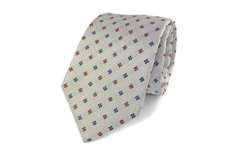 Grey, Blue and red pattern silk tie from Ocean Boulevard