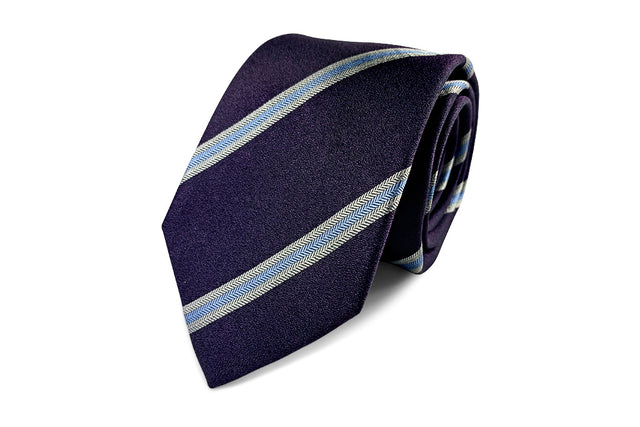 Purple and blue silk striped tie from Ocean Boulevard