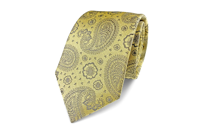 Yellow and grey silk paisley tie from Ocean Boulevard