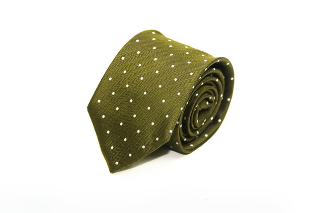 Olive green and white polka dot silk tie from Ocean Boulevard
