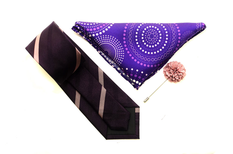 Purple Stripe Silk Tie Set With Pocket Square and flower lapel from Ocean Boulevard