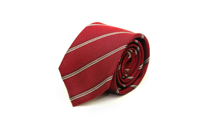 Red, grey and white striped silk tie from Ocean Boulevard