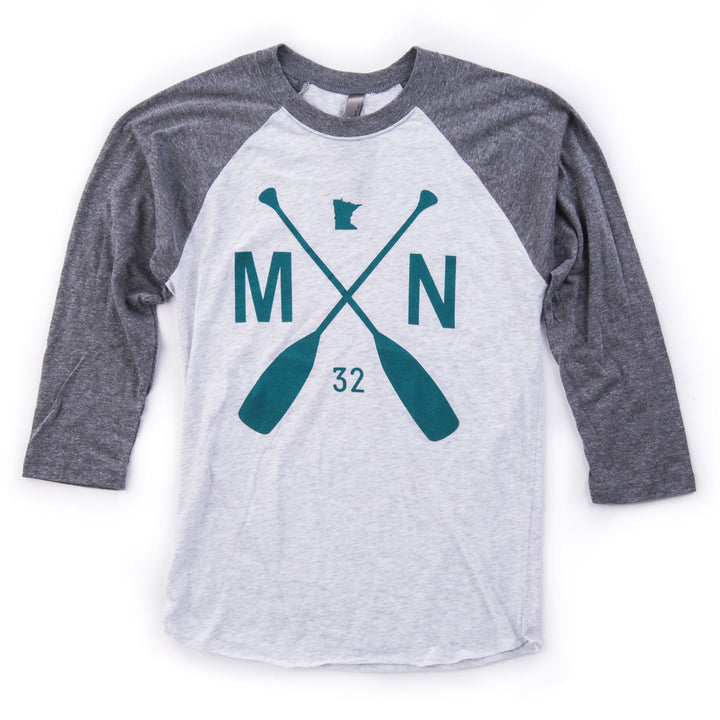 cd8250006c6 Raglan Baseball T- Grey Teal