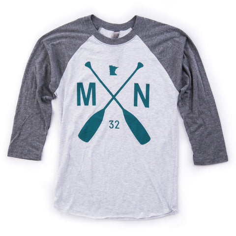Raglan Baseball T in our MN Paddle Graphic