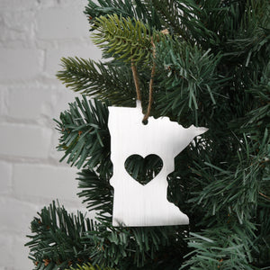 Minnesota Metal Ornament w/ Heart