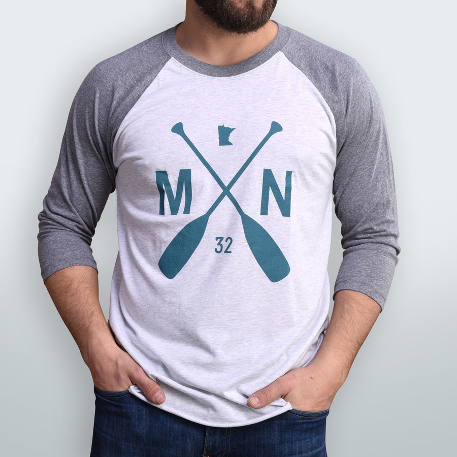 Raglan Baseball T- Grey/Teal