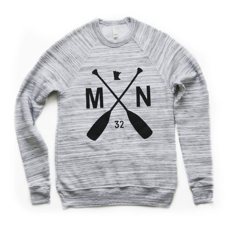 Marble Fleece Crewneck in our MN Paddle Graphic