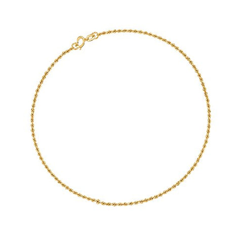 10K Yellow Gold Rope Ankle Anklet 10 Inches 1.25 Mm
