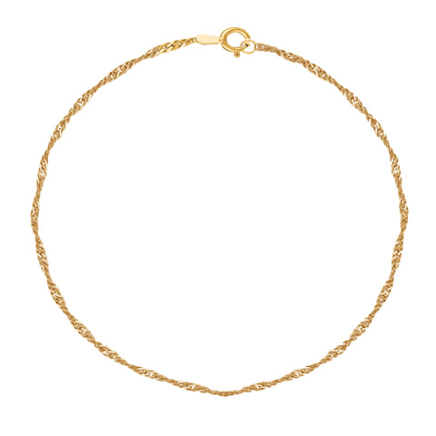 "10K Yellow Gold Singapore Anklet Ankle Bracelet 10"" 1.5mm"