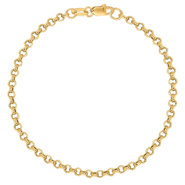 10k Solid Yellow Gold Rolo Link Wrist Bracelet Chain 2.3mm 7 Inches