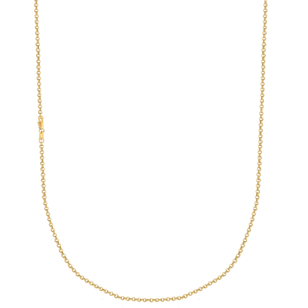 10k Solid Yellow Gold Rolo Link Chain Necklace 2.3mm 16, 18, 20 Inches