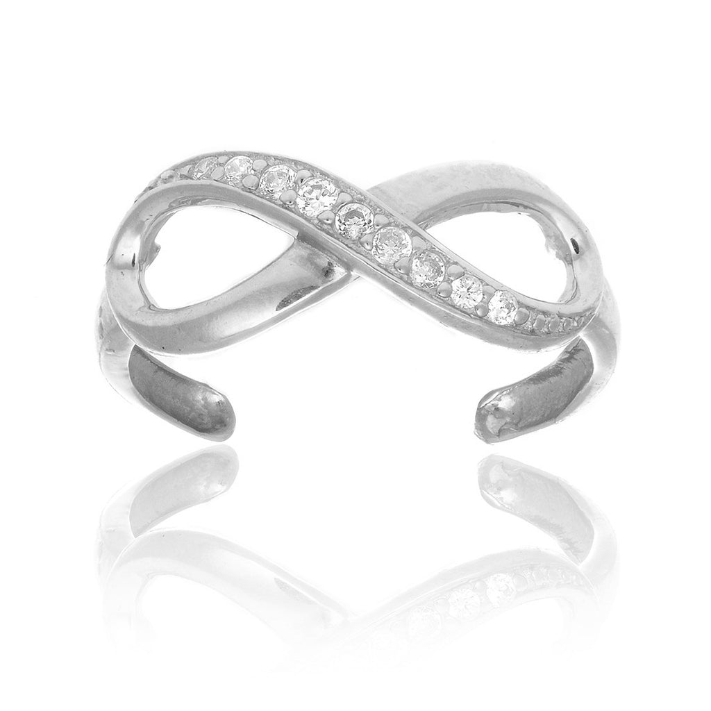 10k Solid White Gold Cz Infinity Toe Ring Body Jewelry Adjustable