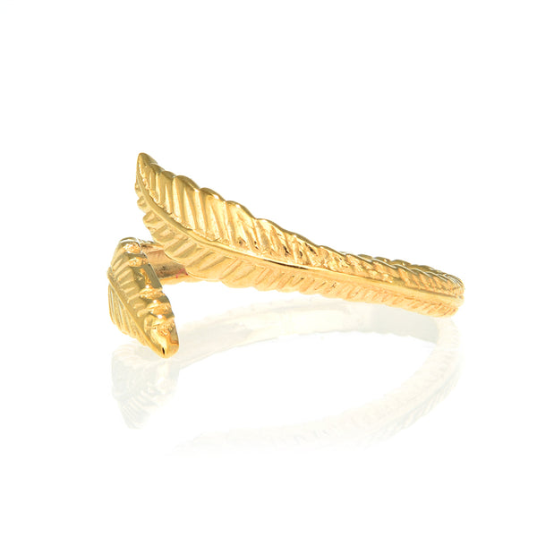 10k Solid Yellow Gold Leaf Cross Over Adjustable Ring or Toe Ring
