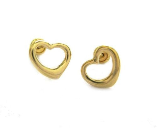 14k Real Yellow Gold Open Heart Post Stud Shiny Earrings Baby Kids Small