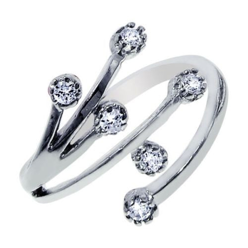 14K Solid White Gold Spray CZ Adjustable Ring or Toe Ring