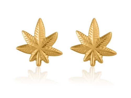 14K Solid Gold Weed Pot Marijuana Leaf Earrings Small