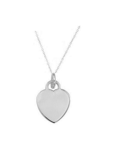 .925 Sterling Silver Heart Tag Love Charm Pendant Necklace 18""