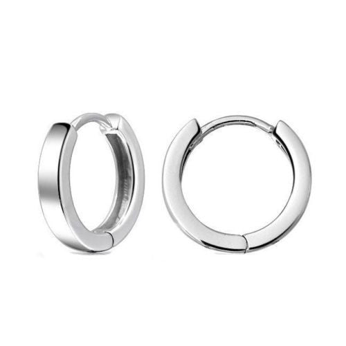 .925 Sterling Silver Round Huggy Huggies Hoops Hoop Earrings 10x4mm