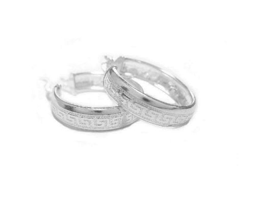 .925 Sterling Silver Greek Key Wedding Band Hoops Hoop Earrings 6x35mm