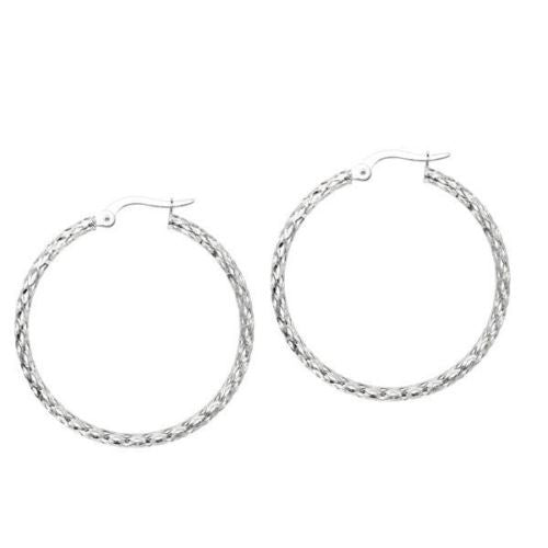 14K Real White Gold DC Hoops Hoop Earrings 30x2mm
