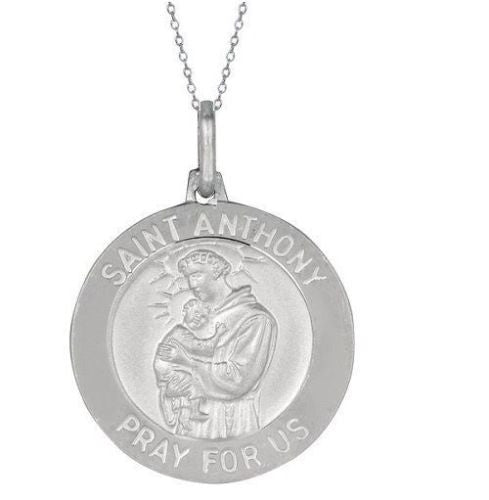 .925 Sterling Silver Saint St Anthony Medal Charm Pendant Necklace 21mm