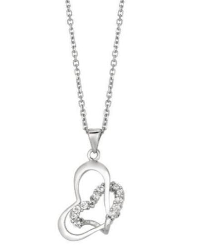 Sterling Silver Open Heart Love CZ Charm  Necklace 18""