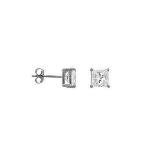 Sterling Silver 4mm CZ Stud Earrings .50ct Princess Cut New