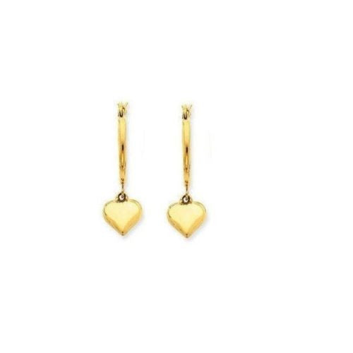 14K Real Yellow Gold Tubular Dangle Heart Hoop Earrings New 2x18mm hoops