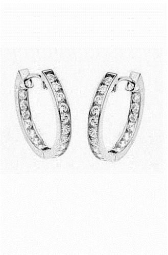 .925 Sterling Silver CZ Channel Set Inside Out Hoops Huggy Earrings 3x21mm
